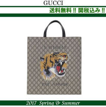 2017SS関税込★GUCCI,TigerプリントGG Supremeトートバッグ
