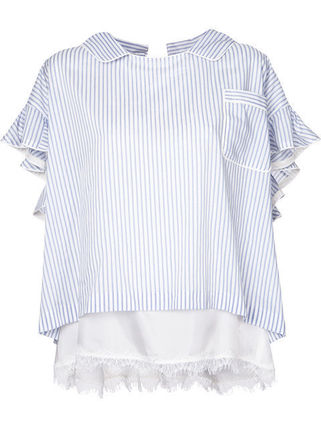 Japan's first written double layer striped blouse Comme des