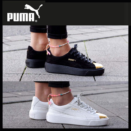 3-5 day wearing PUMA SUEDE PLATFORM GOLD sneakers