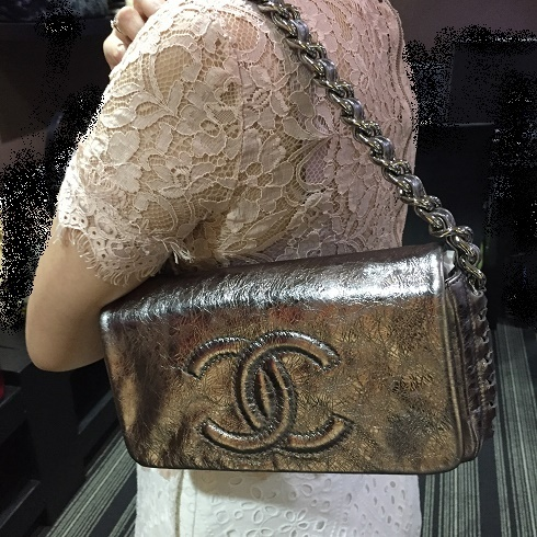 【CHANEL】 メタリック・ブラウン チェーンバッグ