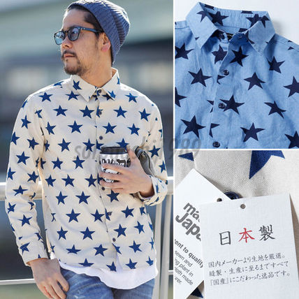 Made in Japan-star star print long sleeve Oxford shirt