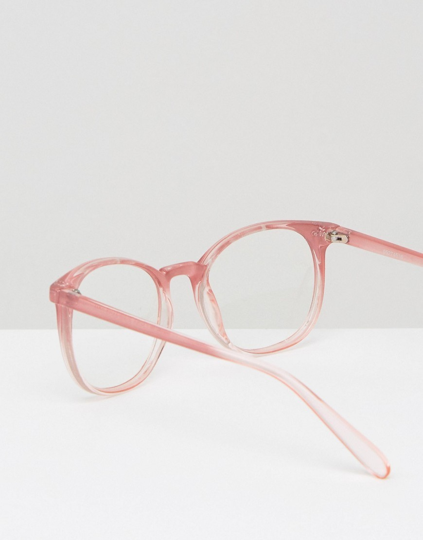 ASOS  Geeky Round Clear Lens Glasses in Pink