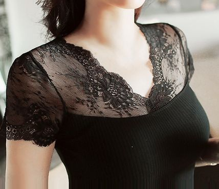 V neck see-through floral lace embroidery evisu all