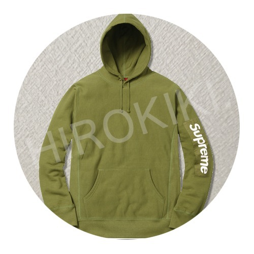 【17SS】S-XL★Supreme Sleeve Patch Hooded Sweatshirt Moss 緑