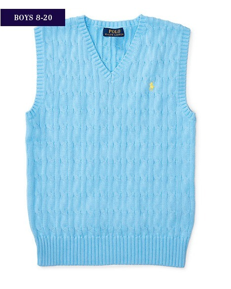 新作♪国内発送 2色 CABLE-KNIT COTTON SWEATER VEST boys 8~20