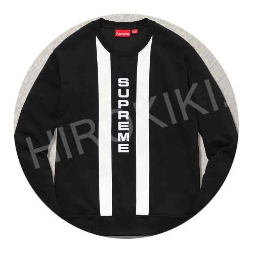【17SS】S-XLサイズ★Supreme Vertical Logo Panel Crewneck 黒
