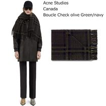 ACNE Canada Boucle check olivegreen/navyカナダウールマフラー