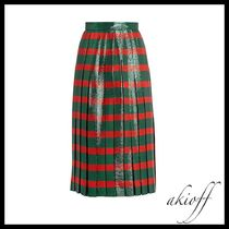Striped pleated lame skirt