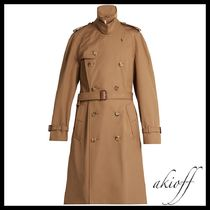 Tiger-applique double-breasted trench coat