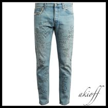 Slim-fit typography-print cropped jeans