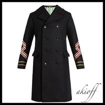 GUCCI(グッチ) ピーコート Panther and sleeve-applique wool coat