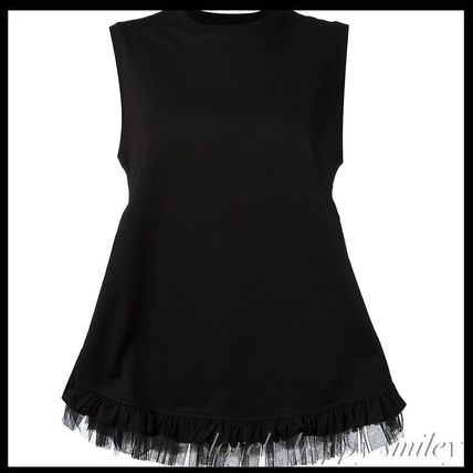 Collar ruffle trimmed flare blouse