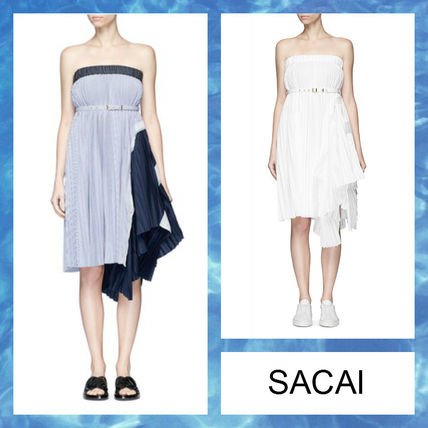 "2017 SS ""SACAI"" Blue Navy pleated tube dress"
