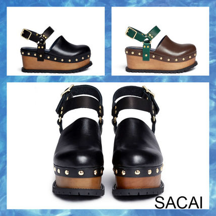 "2017 SS ""SACAI"" wooden wedge shoes black brown."
