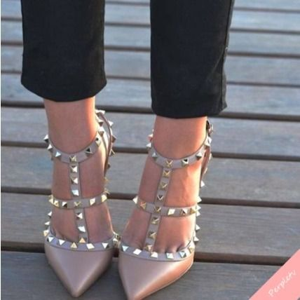 VALENTINO longing one foot rock studded Pumps pink