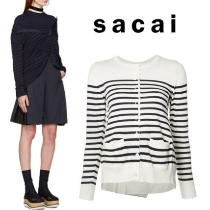 2017 SS SACAI back switch design stipes cardigan.
