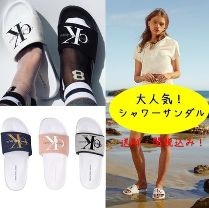 popular CK Womens logo Slip-on Sandals all