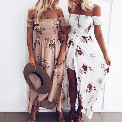 Off shoulder Maxi-length dress slit long floral Beach