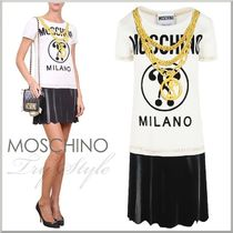 17SS★Moschino セットアップ風 プリント柄 ミニ ワンピース