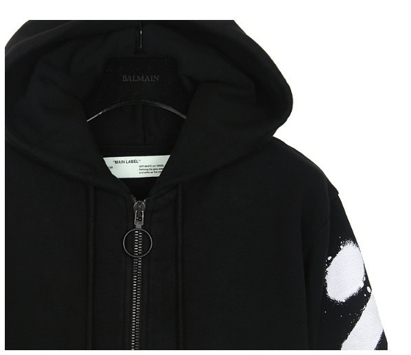 Off-White_正規品 DIAG SPRAY ZIPPED SWEATSHI BLACK