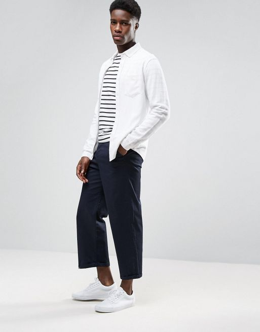 ★日本入荷★ ASOS Regular Fit Textured Linen Sh 大人気シャツ