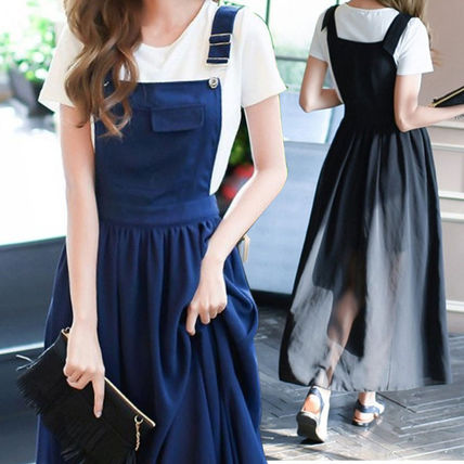 Fashionable suspenders chiffon dress 2 colors-