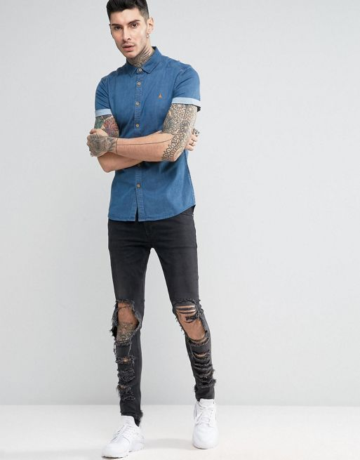 ★日本入荷★ ASOS Skinny Denim Shirt In Mid Was 大人気シャツ