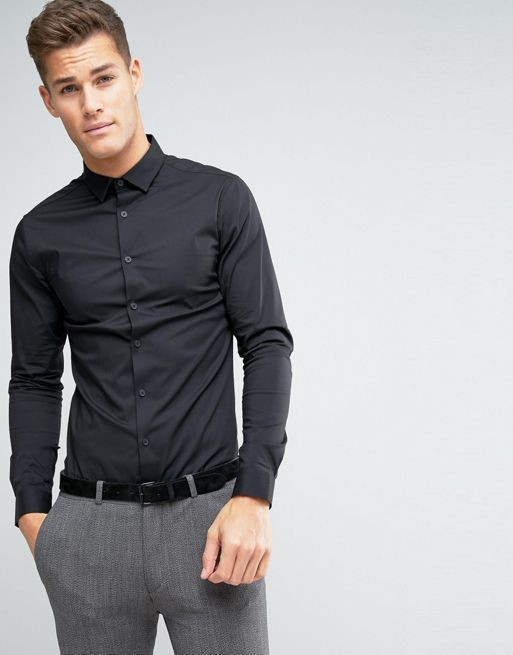 ★日本入荷★ ASOS Super Skinny Shirt In Black 大人気シャツ