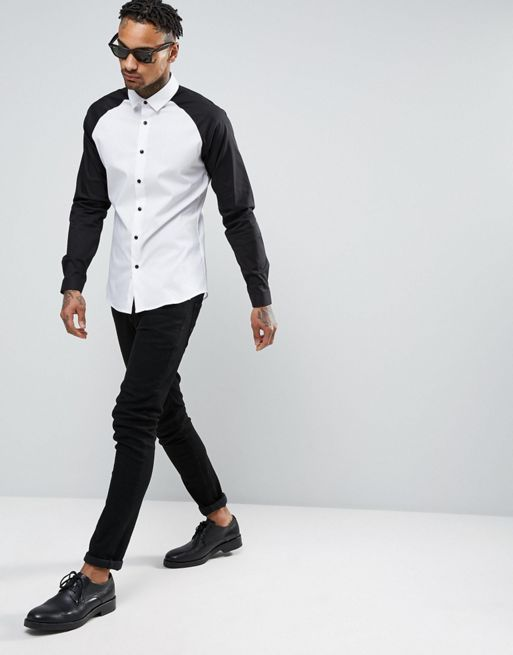 ★日本入荷★ ASOS Skinny Shirt With Raglan Slee 大人気シャツ