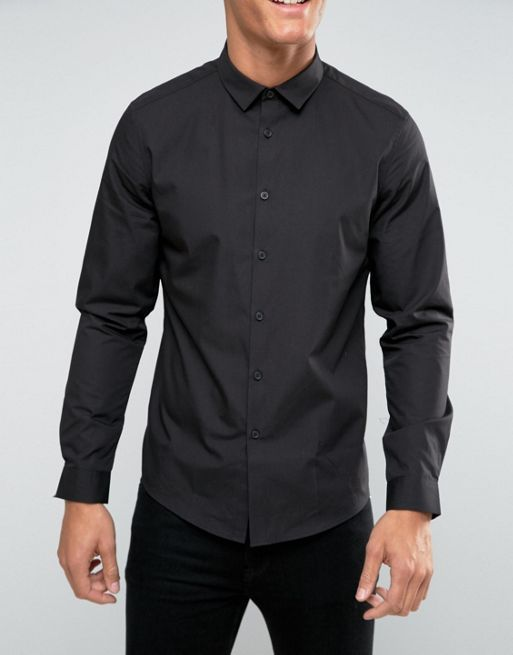 ★日本入荷★ ASOS Regular Fit Shirt In Black 大人気シャツ