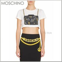 17SS★Moschino バイカーバッグ プリント柄 クロップ Tシャツ