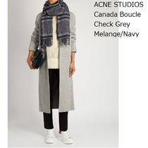 ACNE Canada Boucle Check Grey Melange/Navy ウールマフラー