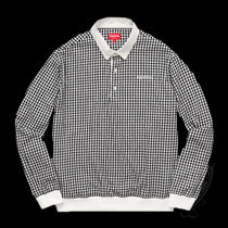 SS17 SUPREME GINGHAM L/S POLO BLACK S-XL 黒 送料無料