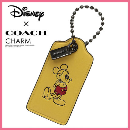 COACH BOX PROGRAM MICKEY HANGTAG KEY FOB (DK/CANARY)★56626B