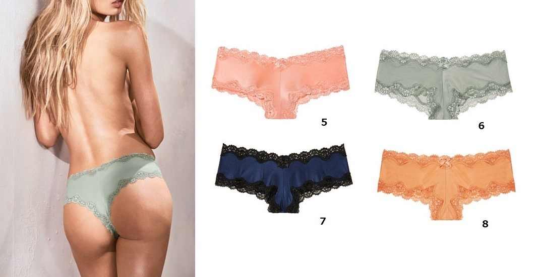 Victoria's secret☆Lace-Trim Cheeky ショーツ18色 選べる3枚