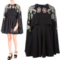 17SS AM132 FLORAL EMBELLISHED SILK CAPE MINI DRESS
