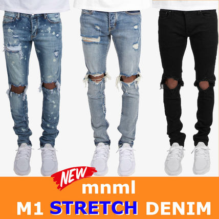 MNML M1 STRETCH DENIM damage hem zip stretch