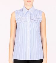 MM232  RUFFLED SLEEVELESS BLOUSE IN STRIPED COTTON