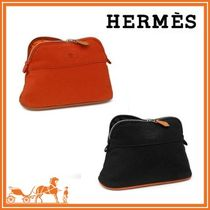 【17SS★HERMES】Bolide Mini cotton  ポーチ red/black