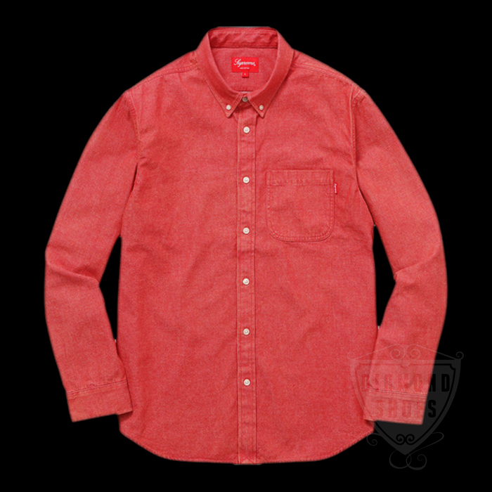 SS17 SUPREME DENIM SHIRT SWISS RED S-XL 赤 送料無料 レッド