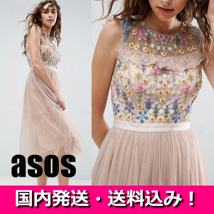 ASOS floral embroidered decollete see-through tulle dress