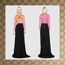 ☆17RESORT☆ GUCCI Ruched-bow silk-georgette gown
