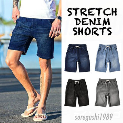 Leg effective knee on silhouette stretch denim shorts