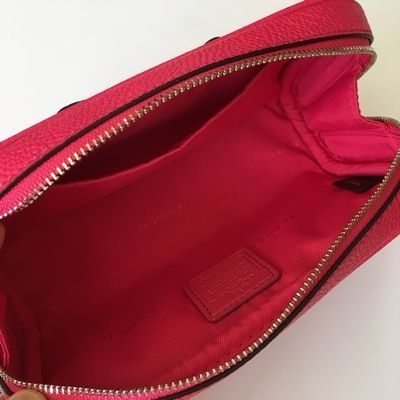 Coach メイクポーチ 【COACH】即発☆TURNLOCK TIE レザーコスメポーチF65539☆Pink☆(5)