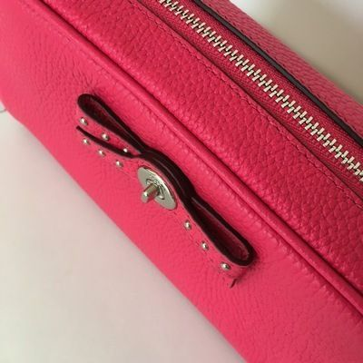 Coach メイクポーチ 【COACH】即発☆TURNLOCK TIE レザーコスメポーチF65539☆Pink☆(6)