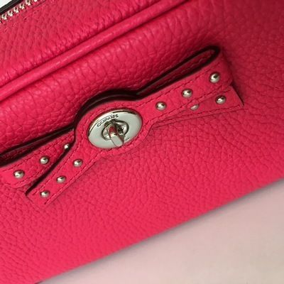 Coach メイクポーチ 【COACH】即発☆TURNLOCK TIE レザーコスメポーチF65539☆Pink☆(7)