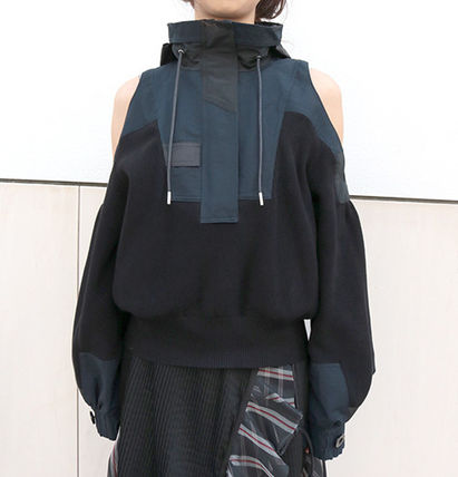 SACAI Sakai open shoulder sweater BLACK 2017 SS