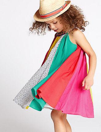 M & S summer outing to colorful stipes summer dress 2-5yrs