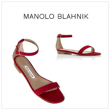 2017 SS Manolo Blahnik CHAFLA suede flat sandals