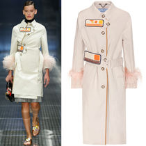 PR481 LOOK2 FEATHER TRIMMED COTTON COAT WITH VELCRO STRAP